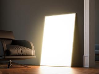 Glowing frame in the dark interior. 3d rendering