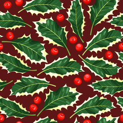 Seamless holly leaves