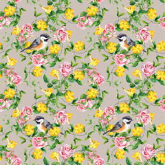 Repeating pattern with yellow flower, bird and rose, watercolor