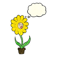 cartoon flower with thought bubble