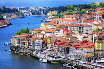 Ribeira, the old town of Porto, and the river Douro, Portugal Fototapete