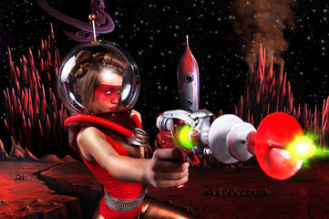 Young girl with blonde hair, and painted red face with a space helmet and suit standing on the surface of Mars, holding a laser gun and shooting up, behind the surface of Mars, rocket and stars.