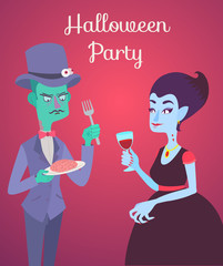 Halloween vector card with zombie and vampire