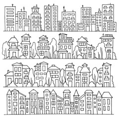 Sketch big city architecture with houses, skyscrapers, trees. Panorama set of streets in a row. Hand-drawn vector illustration isolated on white and organized in groups for easy editing.