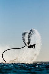 Poster Nautique motorise Silhouette of a fly board rider