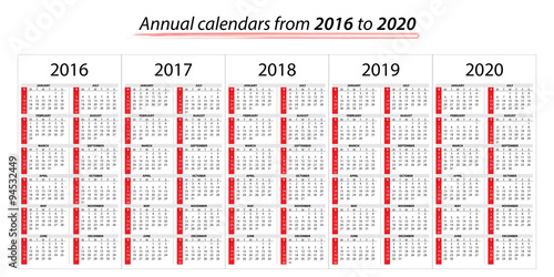 Calendario 2020 Vector Gratis.Calendario Annuale Dal 2016 Al 2020 Stock Image And Royalty
