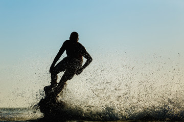 Garden Poster Water Motor sports Silhouette of a fly board rider