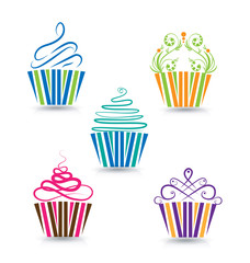Cupcakes set vector logo
