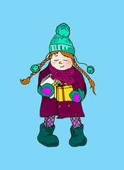 Illustration of a girl with pigtails. Winter holidays.