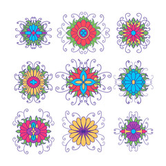 Set of flower icons isolated on white.