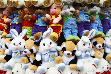 background from many soft toys