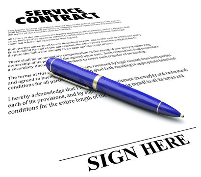 Service Contract Agreement Pen Signature Line