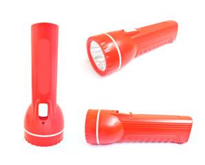 Red flashlight isolate on white background