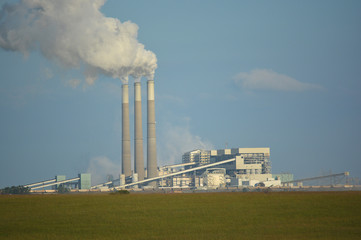 Coal Power Plant Emits Carbon Dioxide from Smoke Stacks