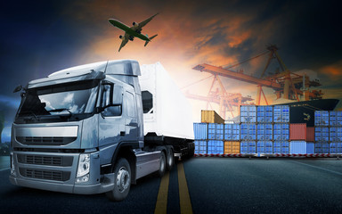 container truck ,ship in port and freight cargo plane in transpo Wall mural