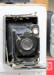 ancient manual camera used by photographers of the last century