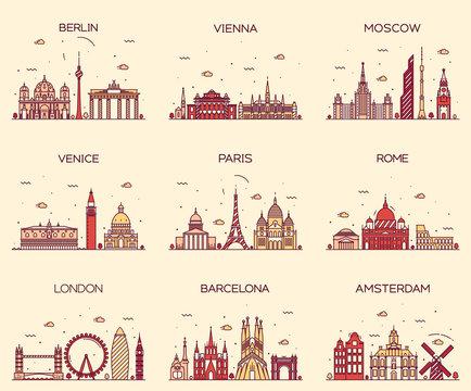 Europe skylines Paris London Barcelona line art