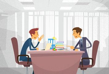 Two Business Man Talking Discussing, Businessmen Chat Sitting Office Desk