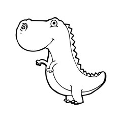 line drawing cartoon  dinosaur