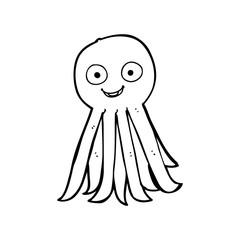 line drawing cartoon  octopus