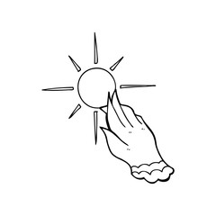 line drawing cartoon  hand reaching for sun
