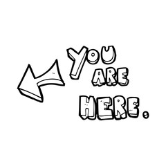 line drawing cartoon  you are here sign
