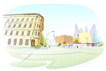 Street City Hand Draw Sketch Colorful Buildings