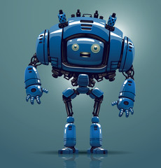 Vector blue robot. Image of a funny big blue robot standing on a light blue background.