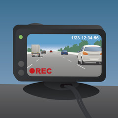 Event Data Recorder(Drive Recorder), vector illustration