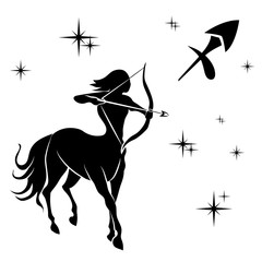 black silhouette of  Sagittarius are on  white background.