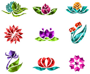 3D polygon jewelry flower flora lotus daisy tulip rose sakura icon gem design, create by vector