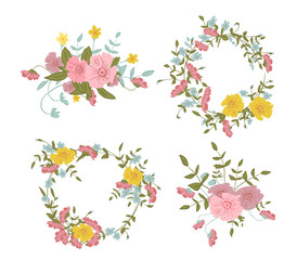Abstract floral composition with large and small pink, blue and yellow colors
