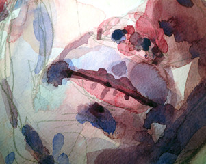close up of watercolor painting of face