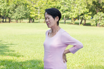 Asian senior woman back pain