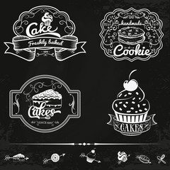 Vector set of bakery and cakes labels, design elements, emblems, badges. Isolated logo illustration in vintage style