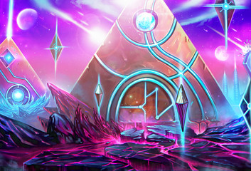 "Illustration: The Pyramids City - It's a civilization conquered by the ""High Priest"" who has been exiled by the Queen. - Scene Design - Scifi Style"