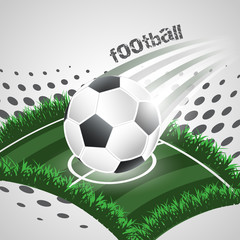 Football abstract vector background with ball and playground.