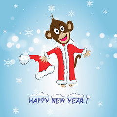 New Year card with monkey-symbol of 2016 year