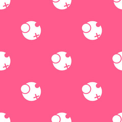 Vector geometrical seamless pattern with circles and cross. Pink circled background