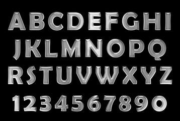 silver font. Metal alphabet. chrome font