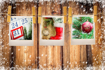 Photos frames on christmas background. Copy space