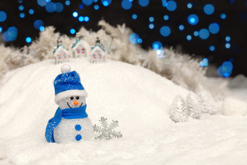 Snowman in the Christmas night