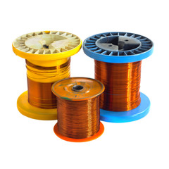 Tree Copper colored plastic spools of copper wire isolated on a white background. Blue, Orange and Yellow bright, vivid, colorful wire spools.