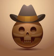 Vector round skull in cowboy hat. Cartoon image of a round brown skull in a dark brown cowboy hat on a light brown background.