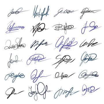 Handwritten personal signatures vector set