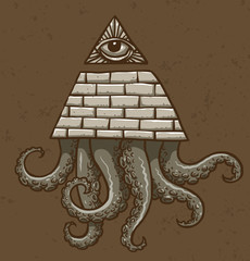 Vector Masonic symbol with tentacles, eye on top. Image of Masonic symbol as a triangle of bricks painted with an eye on top of the triangle and with tentacles below on a brown background.