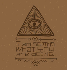 Vector Masonic symbol with text, eye in the center. Image of Masonic symbol as a triangle with an eye painted in the center with rays emanating from it and the text below on a light brown background.