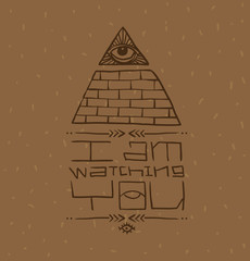 Vector Masonic symbol with text, eye on top. Image of Masonic symbol as a triangle of bricks painted with an eye on top of the triangle and the text below on a light brown background.