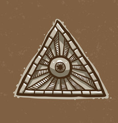 Vector Masonic symbol, round eye in the center. Image of Masonic symbol as a triangle with a round eye painted in the center with rays emanating from it on a light brown background.