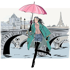 Wall Mural - Fashion model in sketch style fall winter with Paris city background
